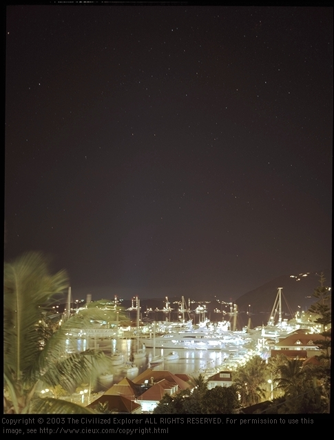 Gustavia at night.
