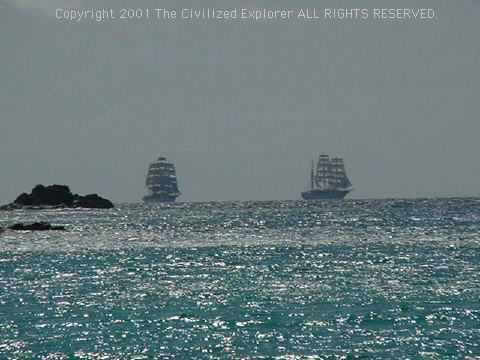 Two sailing ships off Saline Beach, en route to Gustavia.